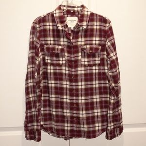 ABERCROMBIE & FITCH Plaid Flannel Top Large